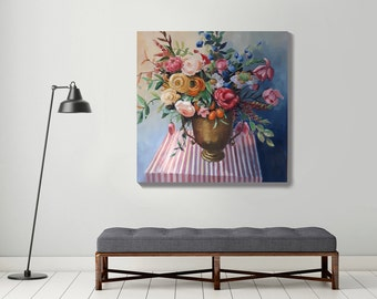 large painting, original oil painting, flower painting, bouquet painting, botanical art, large painting, stillife, large canvas art