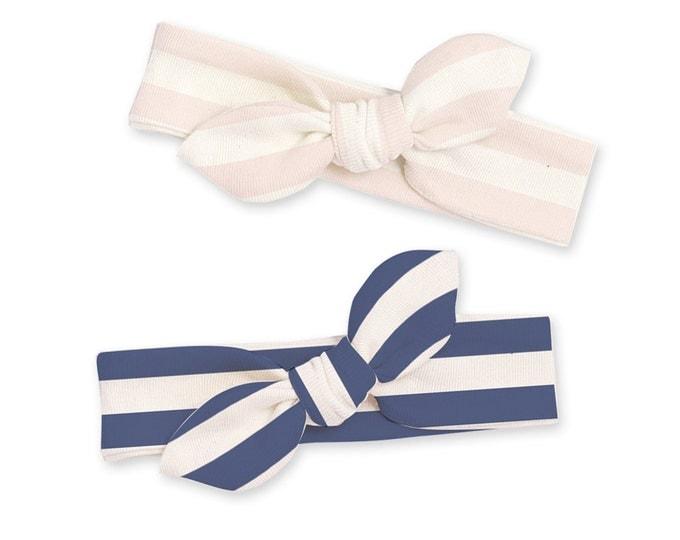 Newborn Headband Bow, Baby Headband, Newborn Baby Headwrap, Baby Girl Bow Headband, Baby Knot Headband, Pink Blue Stripe, Tesababe
