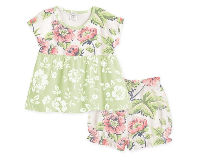 Baby Girl Floral Outfit, Baby Girl Vintage Floral Outfits, Baby Top & Bloomers, Retro Floral, Baby Summer Outfit, Tesababe TB020RGPF0000