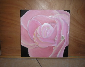 "Original Rose painting, acrylic on canvas, ready to hang, UK artist, roses, gift, 12"" x 12"", pink painting, pink rose, handmade, rose art"