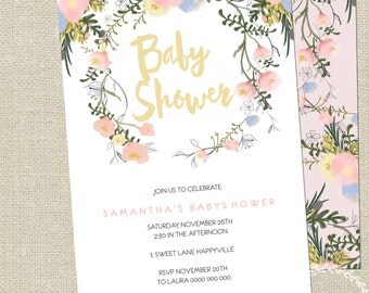 Baby Shower Invitation / Personalised / Floral Wreath Watercolour Invitation / Girls Ladies Invitation Lilac Cream Pink Hens Night Printable