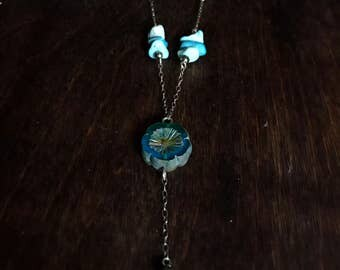 Sterling Silver Turquoise Czech Glass Pyrite Necklace