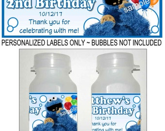 30 Sesame Street COOKIE MONSTER Birthday party favors bubble labels