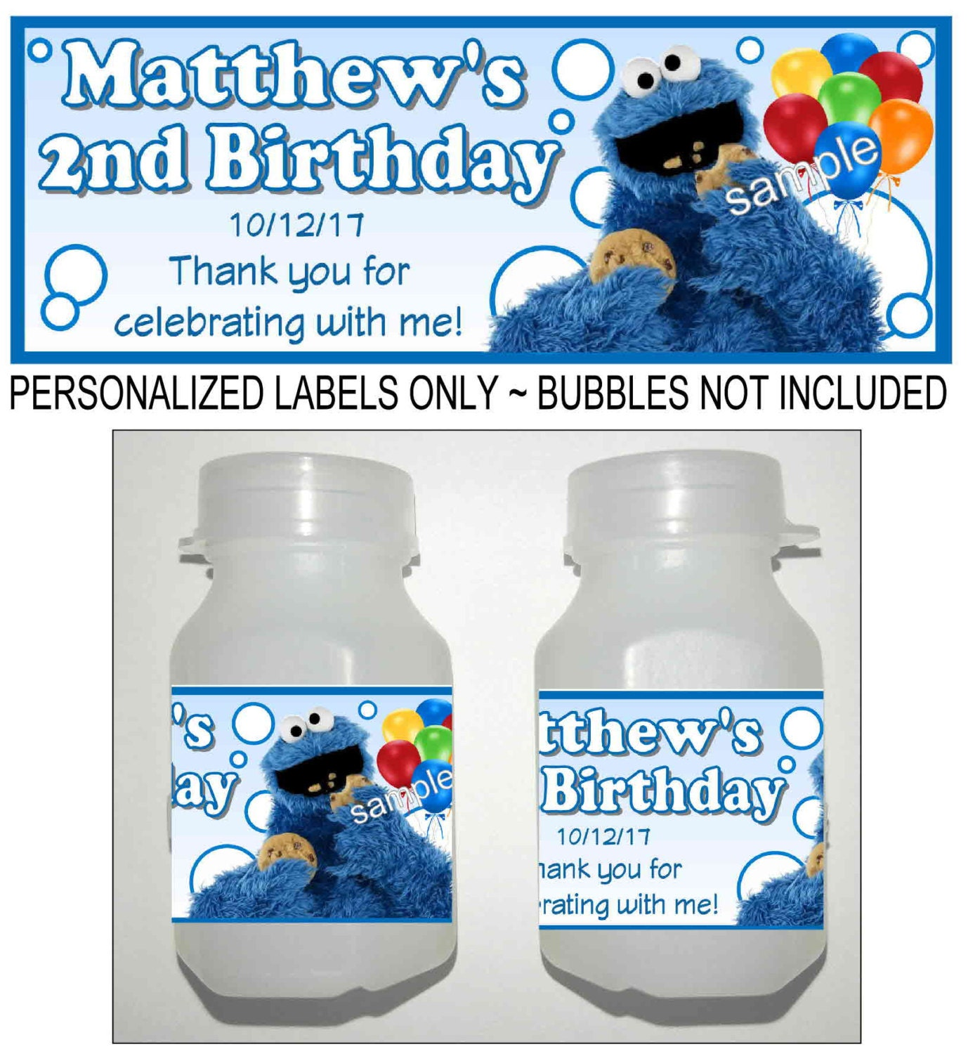 30 Sesame Street COOKIE MONSTER Birthday Party Favors Bubble