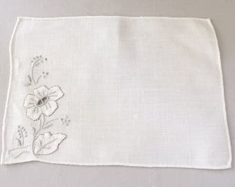 8 Vintage Madeira Linen Cocktail Napkins Embroidered with a Gray and White Floral Corner Detail, White, Wedding, Hostess Gift, Party