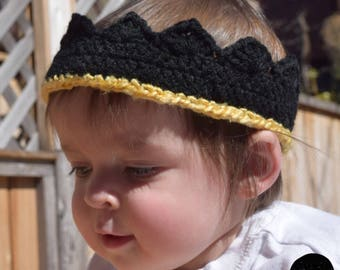 Child's Black and Gold Birthday Crown!  Crochet Crown For Babies Toddlers Kids Boys and Girls, Birthday Free Play - Ready to Ship