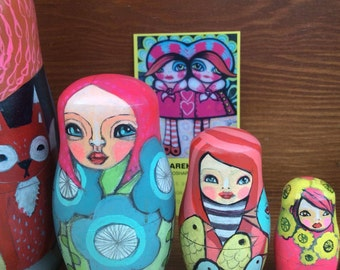 Hand painted one-of-a-kind Nesting doll set