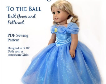 """Deluxe Princess Cinderella Dress Ball Gown Sewing Pattern for 18"""" American Girl Our Gen Dolls"""