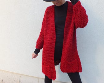 Red Cardigan sweater/ Long cardigan/ Long cardigan sweater / Cardigan sweater vest