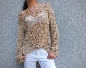 Jute sweater, off the shoulder sweater,Summer sweater, Loose knit sweater, Open knit, Summer knit sweater, Boho festival  Sweater
