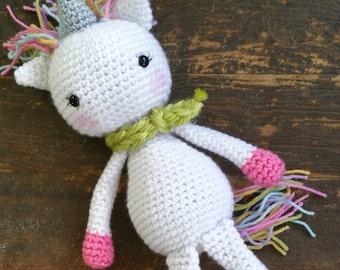 Flora the Unicorn - pink, handmade crochet doll, READY TO SHIP