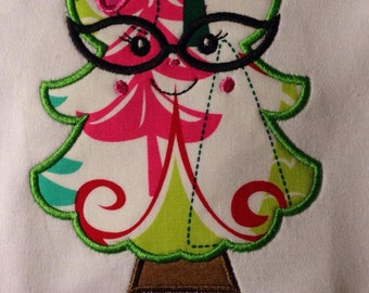 Christmas Tree with Glasses appliqued Child's T Shirt Monogrammed