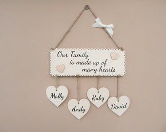 "Personalised Family plaque. ""Our Family is made up of many hearts"" Hanging heart plaque. Wooden housewarming gift. Family sign. Mother's Day"