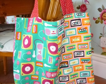Handmade tote shopping bag in a funky D.J turntable and cassette tape designed fabric