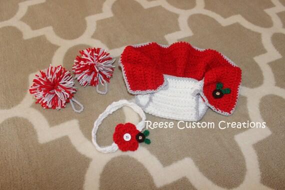 Crochet Ohio State Buckeyes inspired colors Newborn Baby Girl