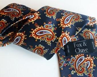 Vintage Fox  & Chave silk tie