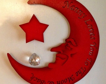 Personalised Nanny loves you to the moon and back in red + crystal