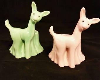 Pottery deer planters