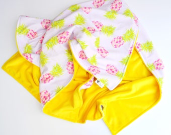 Toddler or Baby Blanket- Gorgeous Pineapple Watercolor Hawaiian Baby Blanket Cotton and Minky