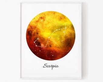 Zodiac Scorpio, Scorpio space, Space, Stars, Scorpio Constellation, Scorpio digital, Zodiac print, Zodiac Constellation, Astrology print