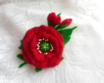 Poppy red brooch, Felt brooch,Felt flower brooch,felted brooch,handmade brooch,red poppy felt flower,wool accessories, jewelry, felt flowers