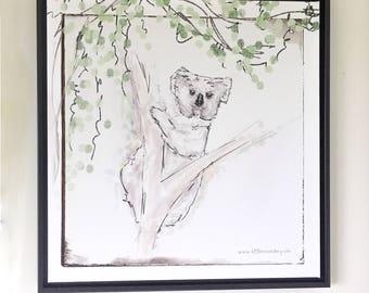 Koko Koala | 1:1 Square | Canvas Illustration | Australian Art | Farmyard Friends | Decorate | Wall | Child | Kids | Adult | Little Me & My
