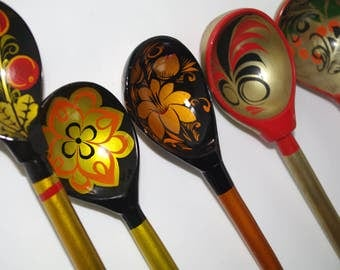 Set of 5 Russian Wooden Spoons Black Golden Khokhloma painting Handmade Spoon Rest Soviet Russian national ornament vintage Russian Folk Art