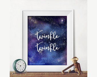 Nursery Decor, Printable blue night sky art, twinkle twinkle stars, digital nursery rhyme art,  baby shower gift girls boys room