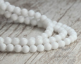 White 8mm Beads Full Strand Round Composite Stone