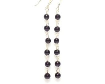 Beaded earrings, beaded chain earrings, black beaded earrings,  black earrings,  black pearl earrings,  pearl chain earrings,  earrings