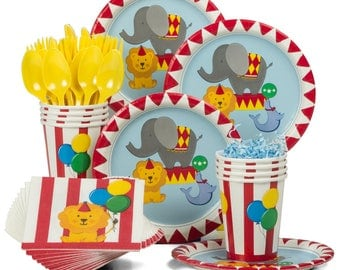 Carnival - Circus Party Celebration Pack Service For 16 - Includes Tablecover & Premium Balloons!