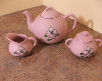 Vintage 1960s Pigeon Forge Pottery Pink Dogwood Tea Pot, Sugar, Creamer