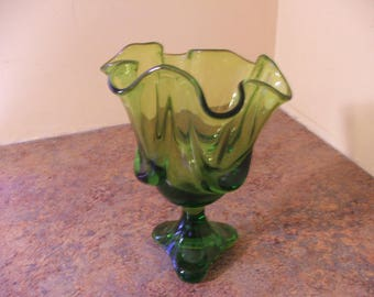 Vintage 1960s Viking Glass Epic Drape Green Glass Tri-Footed Candy Dish / Compote / Handkerchief Vase