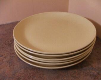 Set of Six (6) Vintage 1950s Santa Anita Ware California Modern Speckled Yellow Dinner Plates