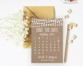 Rustic lights calendar save the date invitation READY TO PRINT file