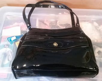 Vintage Unused With Tags Empire Orr, Inc 1960s Style Double Zippered 1980 Patent Black Leather Handbag Style #1230PBKP