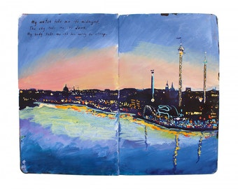 "Fine Art Print of Swedish Cityscape Painting from Artist Travel Journal – ""Sunset Over Stockholm"""