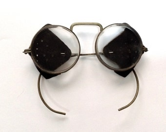 Vintage Motorcycle Glasses, Leather Side Shield  / Steampunk Glasses / Goggles