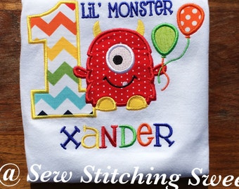 Monster Birthday Shirt, Sibling Monster set, Personalized Boy Monster, Lil Monster Birthday Shirt, Monster Party, Monster 1st birthday