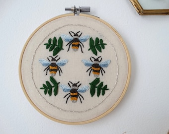 Garden Bees Hand stitched hoop art, hand embroidered bees wall decor, handmade embroidery art, embroidery hoop wall art