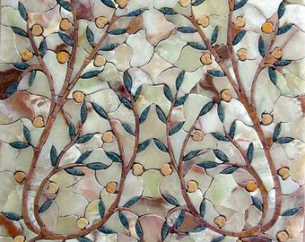 Blossoming Mosaic Twigs Stone Art