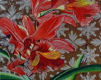 Red flowers Glass Mosaic Mural