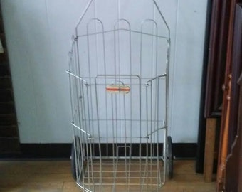 Vintage Shopping Cart Metal Shopping Cart Antique Laundry Hamper Folding Cart Dry Bin Storage Storage Bin Dennis Mitchell Pres-Toe Cart