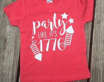 Party Like It's 1776 // Kids Tee // Toddler Tee // America // Stars and Stripes // 4th of July // USA // Memorial Day // Patriotic Shi
