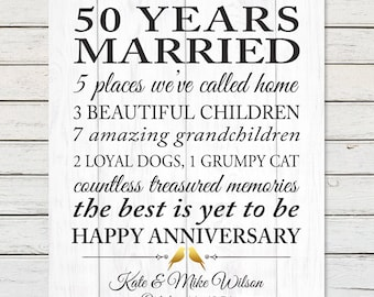 50th GOLDEN ANNIVERSARY PRINT, Parents 50th Anniversary Gift, Grandparents 50th Anniversary, Faux Wood Anniversary Art, Marriage Stats