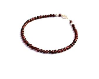 Red Garnet Bracelet, Gemstone Bracelet, Delicate Bracelet, Stacking Bracelet, Small Bead Bracelet