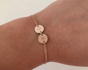 Rose gold bracelet, name bracelet, initial disc bracelet, dainty bracelet, monogram jewelry, bridesmaid gift, friendship bracelet