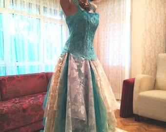 Upcycled teal blue gorgeous alternative wedding dress. Bridesmaid dress. Party dress