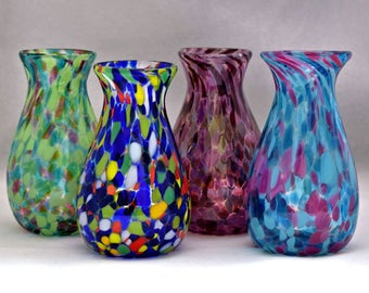 Hand blown Glass Colorful Handful of Flowers Child's Vase