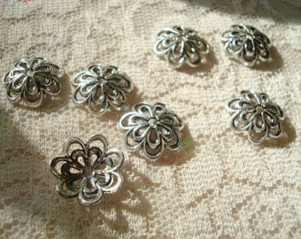 26 Big Silver Flower Caps 14x4mm Antiqued Silver, Retro, Double Flower, Domed Bead Caps For 18mm Beads or Bigger ~USPS Ship Rates /Oregon